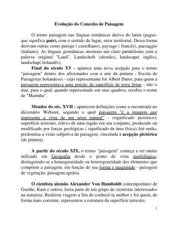 Evolução do Conceito de Paisagem O termo paisagem nas línguas ...