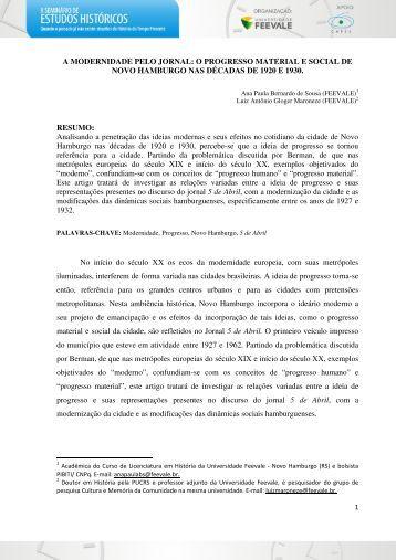A MODERNIDADE PELO JORNAL: O PROGRESSO ... - Feevale