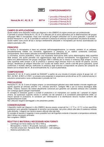 CONFEZIONAMENTO HemaLife A1, A2, B, O 80714 1 ... - Formedic