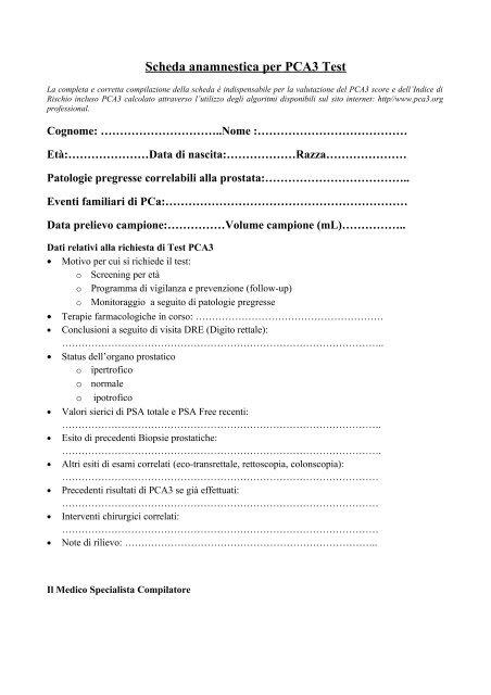 test della prostata richiesto