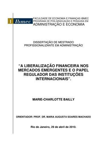 """""""a liberalização financeira nos mercados emergentes eo ... - Ibmec"""