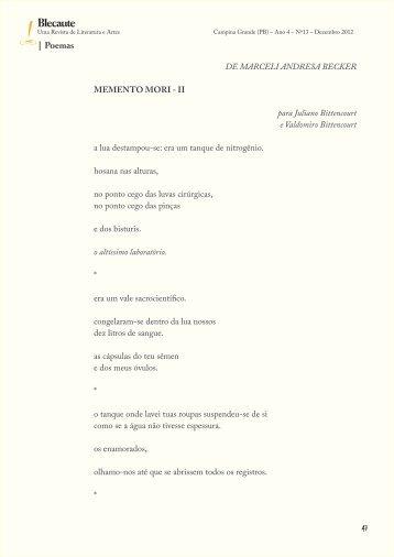 Poemas: Memento mori – II III, De Marceli ... - Revista Blecaute