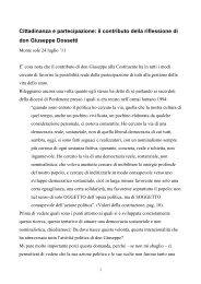 il contributo della riflessione di don Giuseppe Dossetti - Pax Christi ...