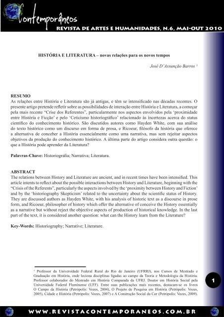 HISTÓRIA E LITERATURA – novas relações para os novos tempos ...