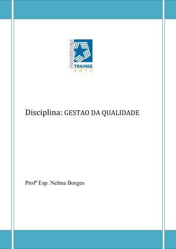 Disciplina: GESTAO DA QUALIDADE