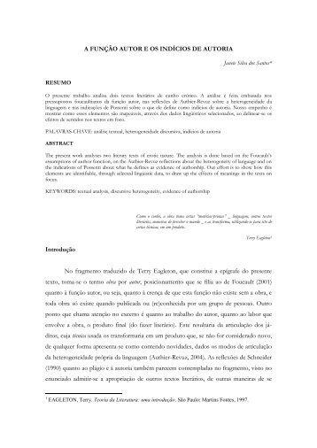 A função autor e os indícios de autoria - UFF