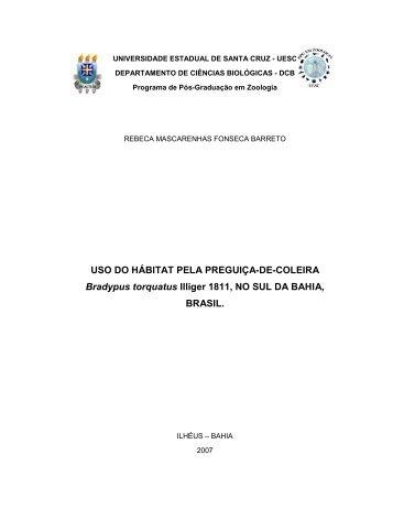 USO DO HÁBITAT PELA PREGUIÇA-DE-COLEIRA ... - CNCFlora