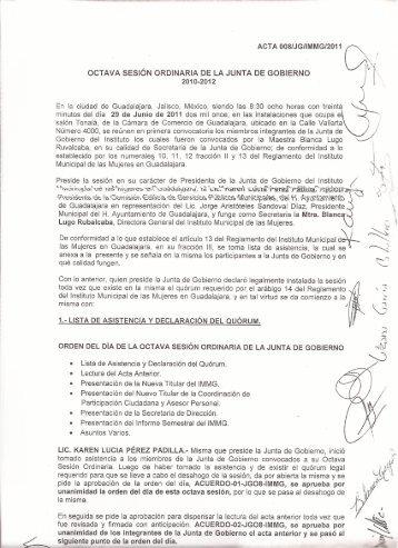 Octava Sesión Ordinaria 2011 - Instituto Municipal de las Mujeres ...