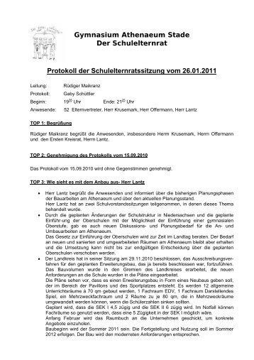 Gymnasium Athenaeum Stade Der Schulelternrat Protokoll der ...