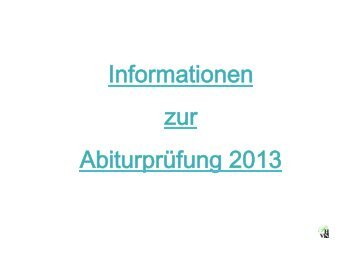 Informationen zum Abitur 2013 - Athenaeum Stade