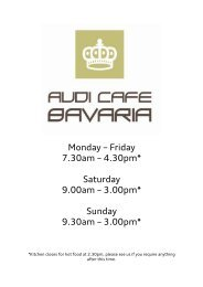 Monday – Friday 7.30am – 4.30pm* Saturday 9.00am – 3.00 ... - Audi