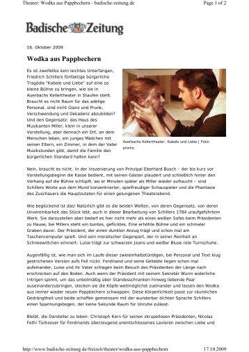 Wodka aus Pappbechern - Auerbachs Kellertheater