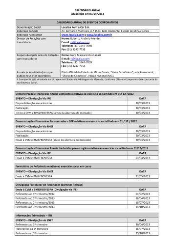 CALENDÁRIO ANUAL Atualizado em 03/04/2013 CALENDÁRIO ...