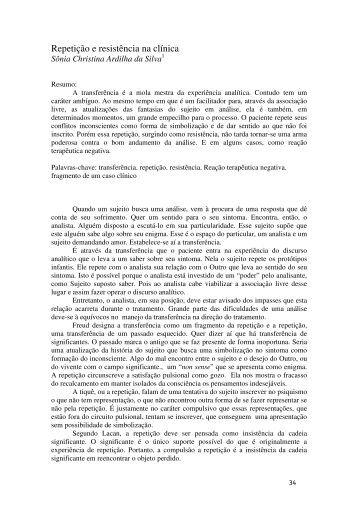 Repetição e resistência na clínica - Escola Letra Freudiana