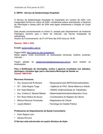 Atualizado em 30 de janeiro de 2013. 8. SEPIH ... - HC - UFPR