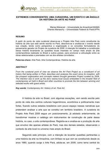 EXTREMOS CONVERGENTES: UMA CURADORIA, UM ... - anpap