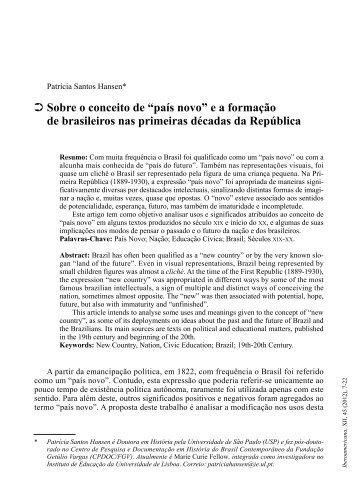 """Sobre o conceito de """"país novo"""" e a formação de brasileiros nas ..."""