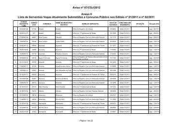 Lista de Serventias Vagas Atualmente Submetidas a ... - Recivil