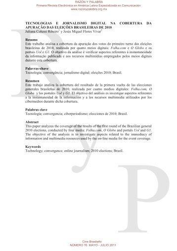 tecnologias e jornalismo digital na cobertura da ... - Razón y Palabra