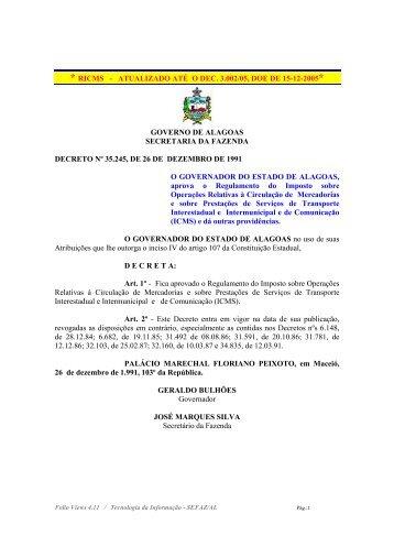 * RICMS - ATUALIZADO ATÉ O DEC. 3.002/05, DOE DE ... - Sefaz - AL