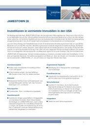 JAMESTOWN 28 Investitionen in vermietete Immobilien in den USA