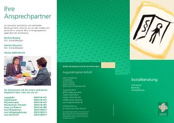 Broschüre Sozialberatung - Augustahospital Anholt