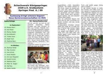 Schachverein Königsspringer 1929 eV Großauheim Springer Post 6 ...