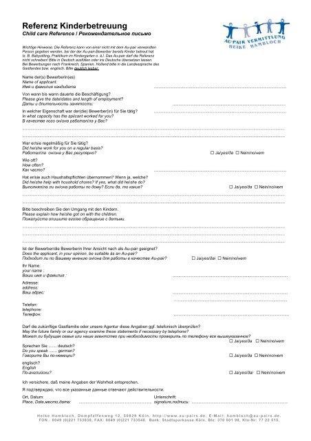 Referenz Kinderbetreuung - Au-pair Vermittlung