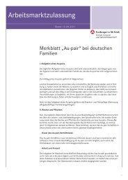 Arbeitsmarktzulassung - Merkblatt