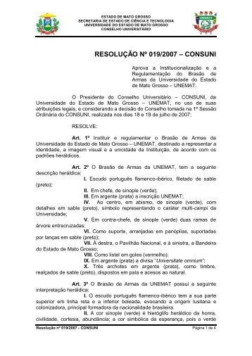 Resolução 019-2007 - Consuni - Inst. do Brasão da UNEMAT