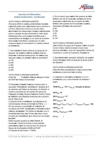 Exercícios de Matemática Análise Combinatória ... - Projeto Medicina