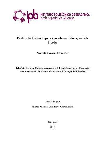 Prática de Ensino Supervisionado em Educação Pré- Escolar