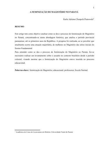 A FEMINIZAÇÃO DO MAGISTÉRIO NO PARANÁ - UTP