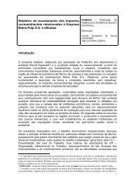 Relatório de levantamento dos impactos socioambientais ...
