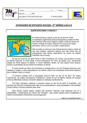 ATIVIDADES DE ESTUDOS SOCIAIS –3ª SÉRIES A-B-C-D - FIEB