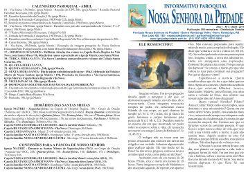 Informativo Abril Piedade - Paróquia (igreja) Nossa Senhora da ...
