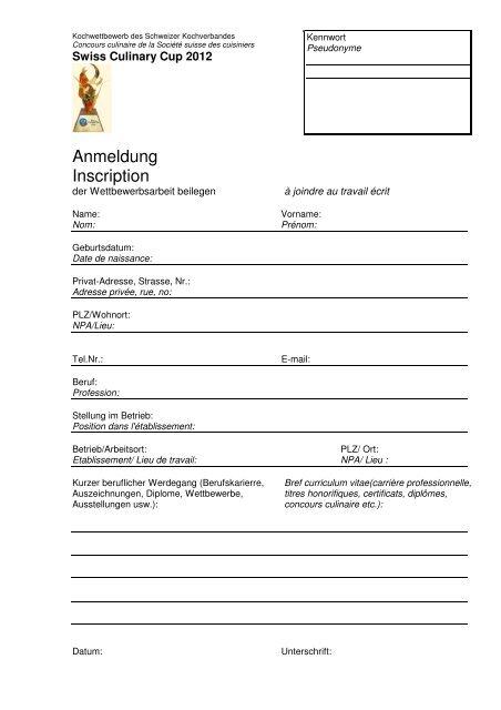 Anmeldung 2012 - Hotel & Gastro Union