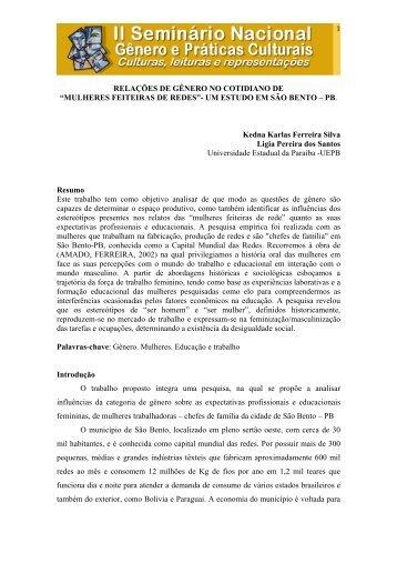 Relações de gênero no cotidiano de mulheres ... - Itaporanga.net