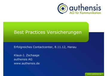 Best Practices Versicherungen - authensis AG