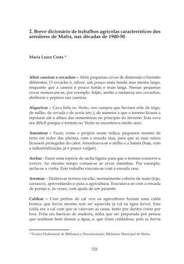 2. Breve dicionário de trabalhos agrícolas característicos dos ...