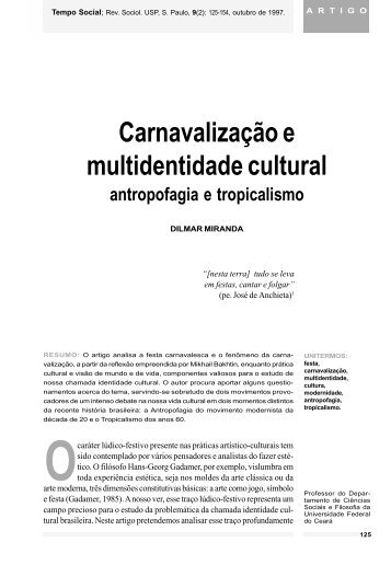Carnavalização e multidentidade cultural antropofagia ... - fflch - USP