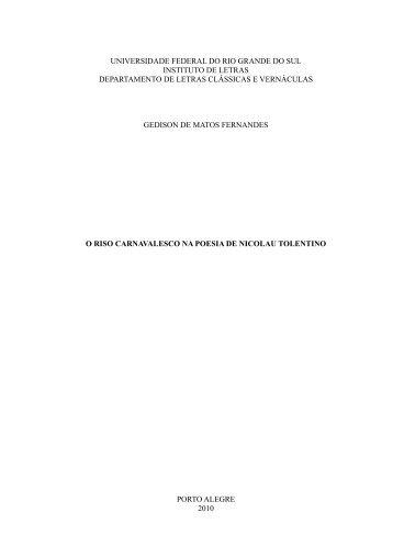 O riso carnavalesco na poesia de Nicolau Tolentino