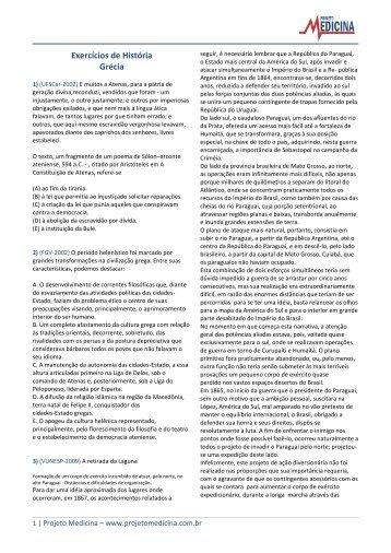 Exercícios de História Grécia - Projeto Medicina