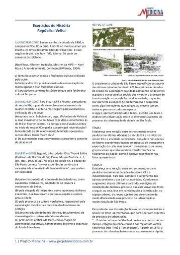 Exercícios de História República Velha - Projeto Medicina