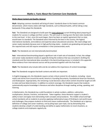 Myths v. Facts About the Common Core Standards