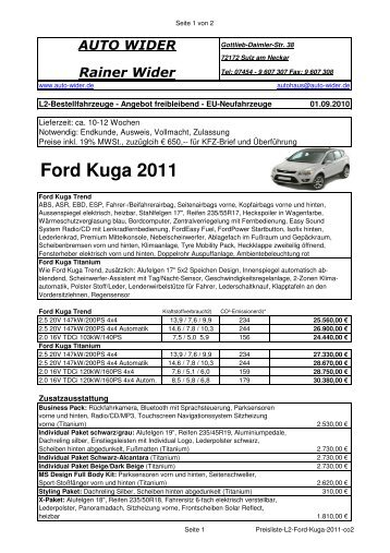 Ford Kuga 2011 - AUTO WIDER