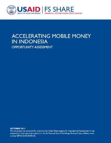 Accelerating Mobile Money in Indonesia: Opportunity Assessment