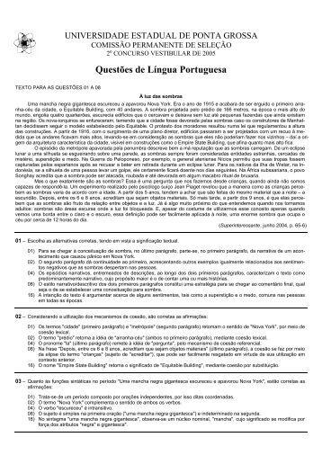 Todas as provas - Universidade Estadual de Ponta Grossa