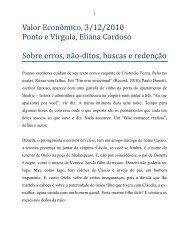 """""""Sobre erros, não-ditos, buscas e redenção."""" Ponto - Eliana Cardoso"""