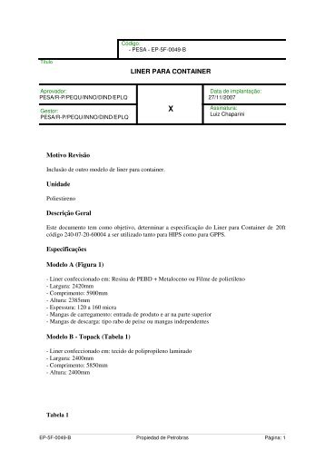 Modelo B - Topack (Tabela 1) - Petrobras